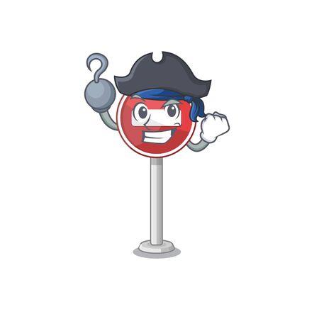 Pirate no entry mascot shaped on cartoon Illustration