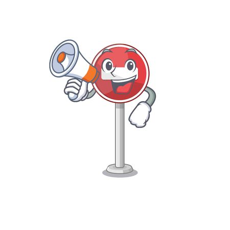 With megaphone no entry mascot shaped on cartoon vector illustration