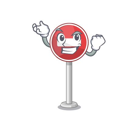 Successful no entry on cartoon side of road vector illustration