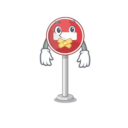 Silent miniature no entry on mascot table vector illustration