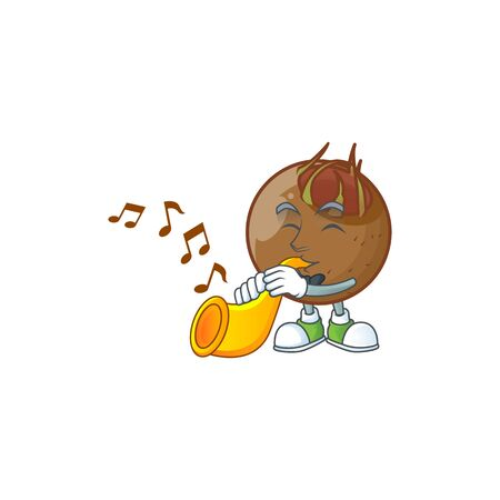 With trumpet sweet medlar fruit cartoon character style.