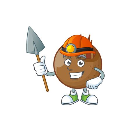 Miner sweet medlar fruit cartoon character style.  イラスト・ベクター素材