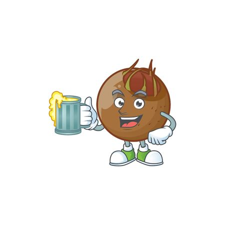 With juice sweet medlar fruit cartoon character style.