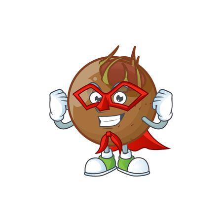 Super hero sweet medlar cartoon on white background