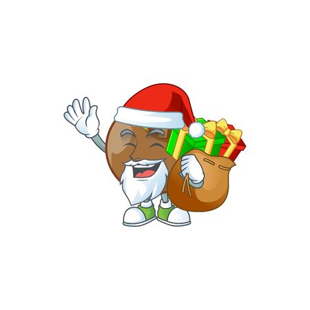 Santa with gift medlar fruits cartoon character for design Фото со стока - 129930933