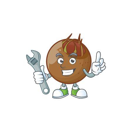 Mechanic medlar fruits cartoon character for design Иллюстрация