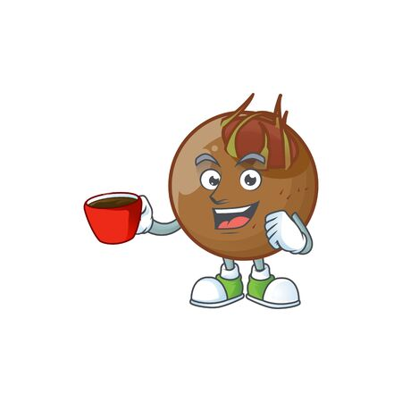 Drinking in cup sweet medlar cartoon on white background vector illustration
