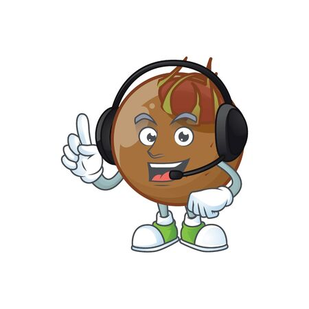With headphone medlar fruits cartoon character for design