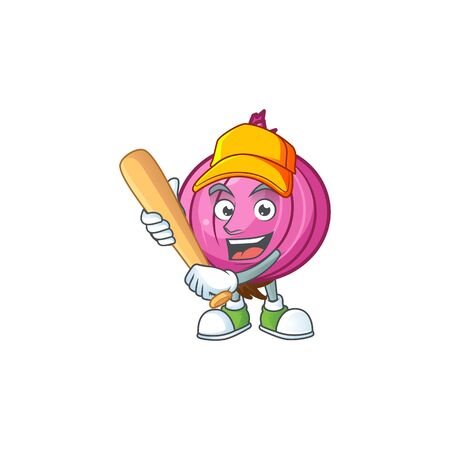 Playing baseball red onion cartoon for recipe food Stockfoto - 129930659