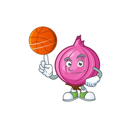 With basketball red onion cartoon for recipe food