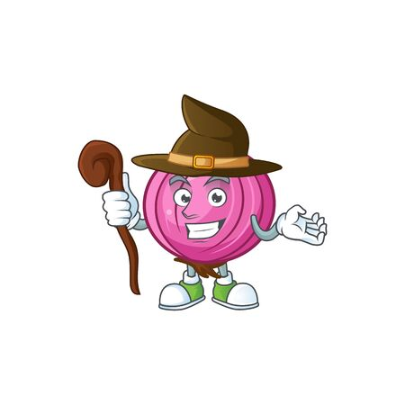 Witch red onion cartoon character for cuisine