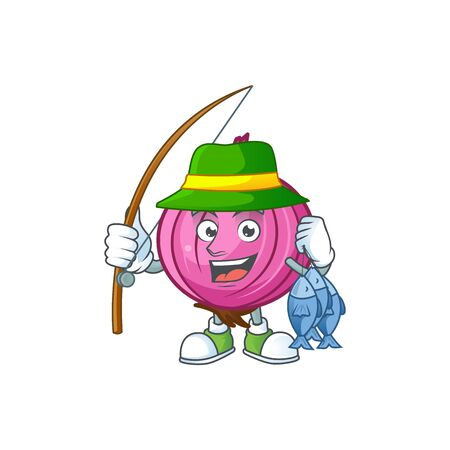 Fishing red onion cartoon character for cuisine
