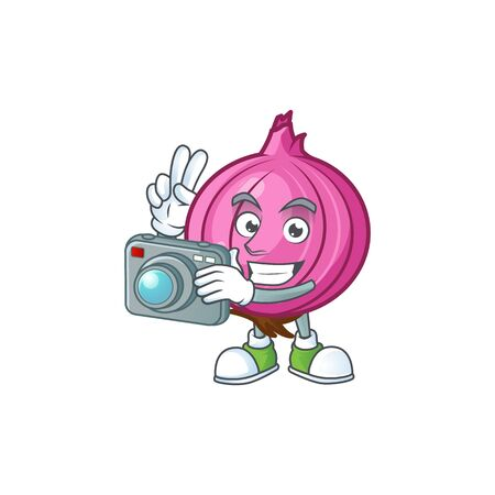 Photographer red onion cartoon character for cuisine