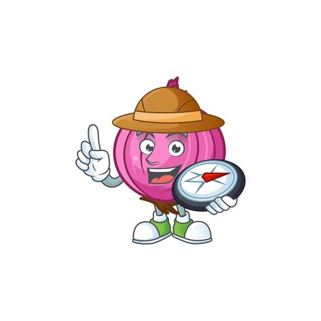 Explorer red onion cartoon character for cuisine