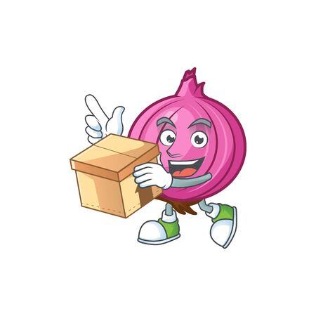 With box red onion cartoon character with mascot