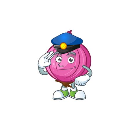 Police red onion cartoon for recipe food