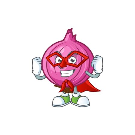 Super hero red onion cartoon character with mascot