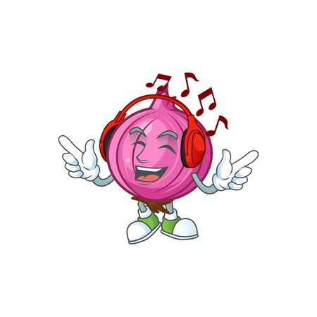 Listening music red onion cartoon character for cuisine Ilustração