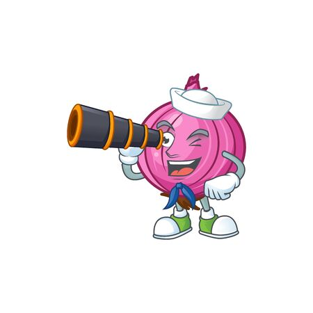 Sailor with binocular red onion cartoon character for cuisine