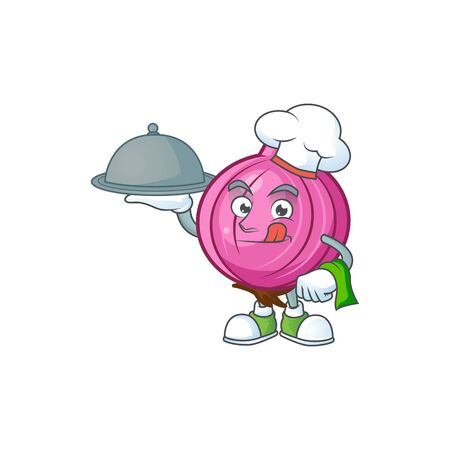Chef with food red onion cartoon character for cuisine