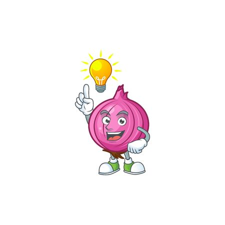 Have an idea raw red onion cartoon on white background