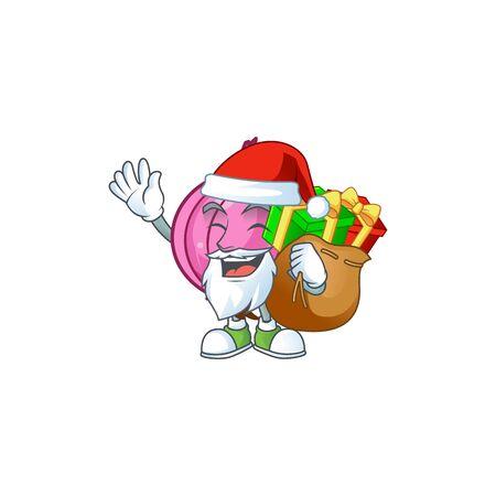 Santa with gift raw red onion cartoon on white background Иллюстрация