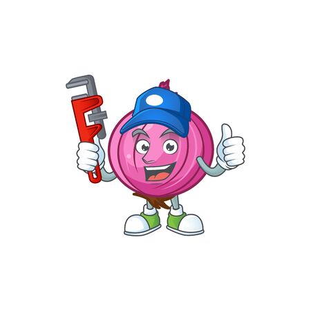 Plumber raw red onion cartoon on white background