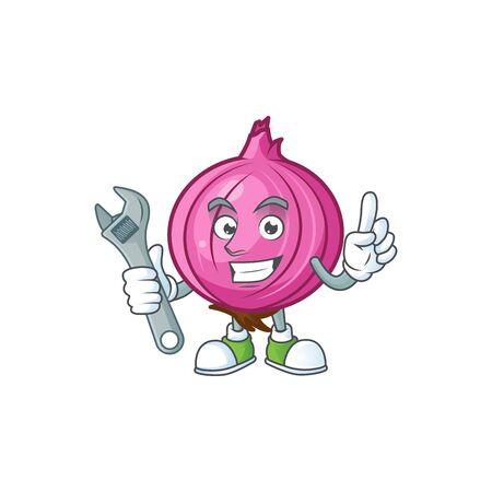 Mechanic raw red onion cartoon on white background Stock Illustratie