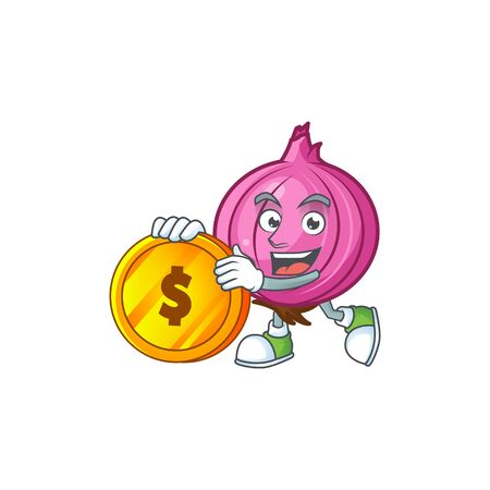Bring coin raw red onion cartoon on white background
