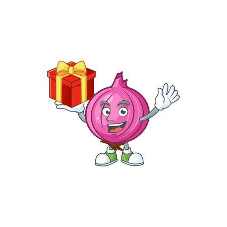 Bring gift raw red onion cartoon on white background Stock Illustratie
