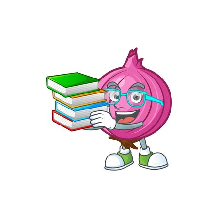 Student with book raw red onion cartoon on white background Stock Illustratie