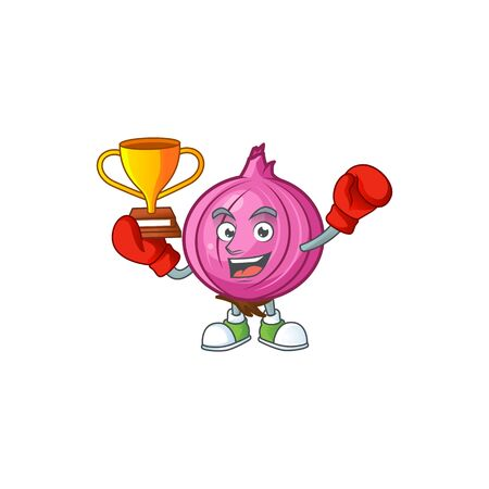 Boxing winner raw red onion cartoon on white background
