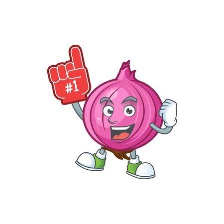Foam finger raw red onion cartoon on white background Stock Illustratie