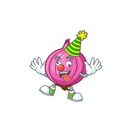 Clown raw red onion cartoon on white background