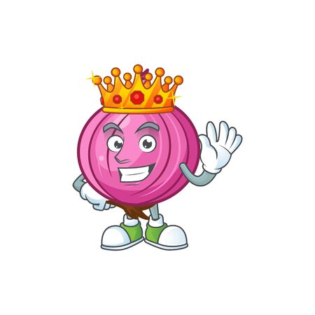 King raw red onion cartoon on white background