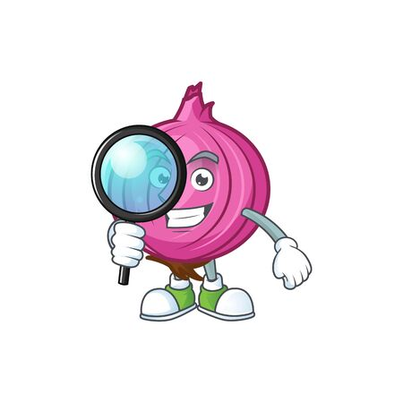 Detective red onion cartoon character with mascot