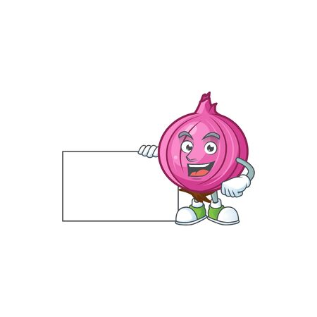 Thumbs up with board red onion cartoon for recipe food