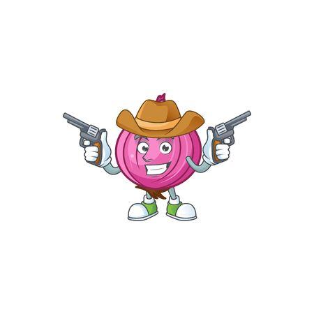 Cowboy red onion cartoon for recipe food