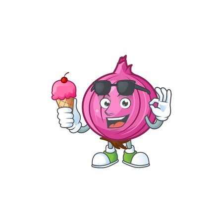 With ice cream red onion cartoon character with mascot