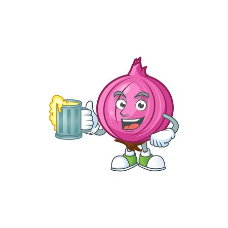With juice red onion cartoon character for cuisine