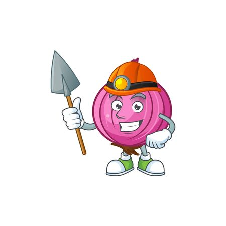 Miner red onion cartoon character for cuisine