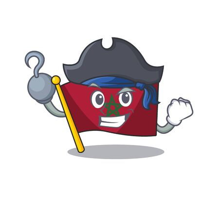 Pirate flag morocco isolated with the character vector illustration