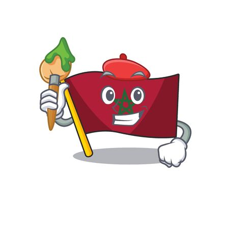Artist flag morocco isolated with the character vector illustration