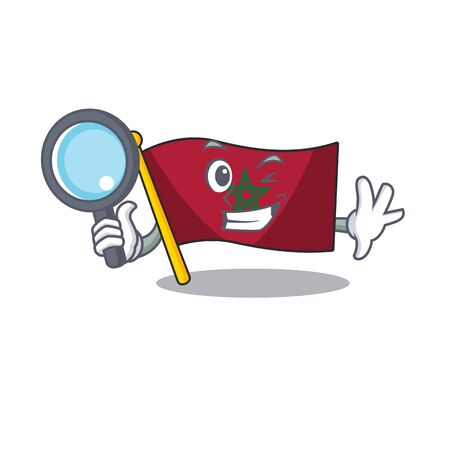 Detective flag morocco cartoon shaped the mascot vector illustration
