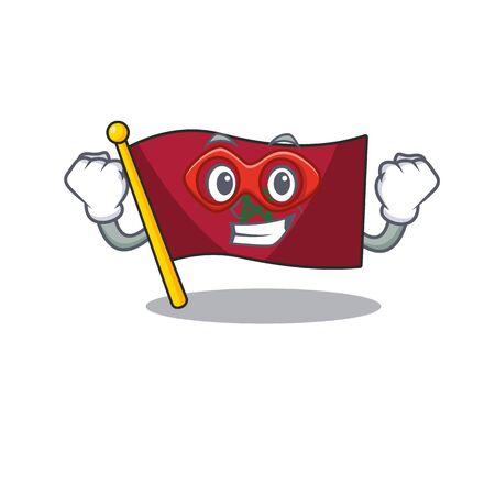 Super hero flag morocco cartoon shaped the mascot vector illustration