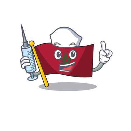 Nurse flag morocco cartoon shaped the mascot vector illustration
