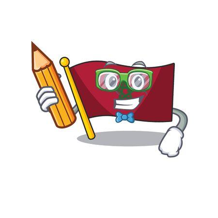 Student flag morocco cartoon shaped the mascot vector illustration