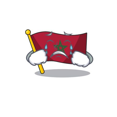 Crying morocco flag character above cartoon chair vector illustration