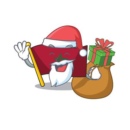 Santa with gift morocco flag sticks to mascot wall vector illustration