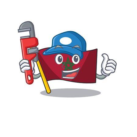 Plumber morocco flag sticks to mascot wall vector illustration Reklamní fotografie - 129928921